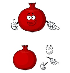 Happy red pomegranate fruit giving a thumbs up vector