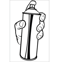 Hand holding spray paint vector