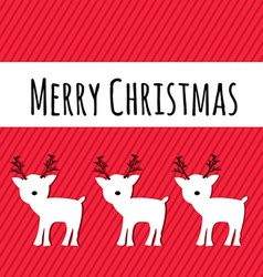 Merry christmas card with reindeers holiday vector