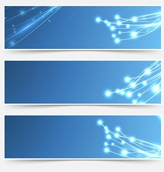 Bright cable sparkle flyer header footer set vector