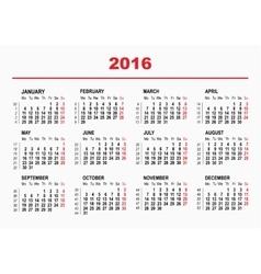 2016 calendar template horizontal weeks first vector