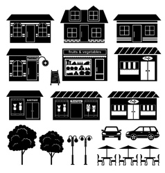 Set of icons of houses and shops vector