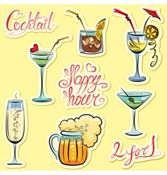 Set of alkohol drinks images and hand written text vector