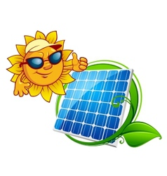 Cartooned cheerful sun with blue solar panel vector