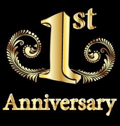 First anniversary happy birthday vector