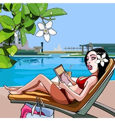 Cartoon woman in a lounge chair near the pool vector
