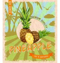 Pineapple retro poster vector