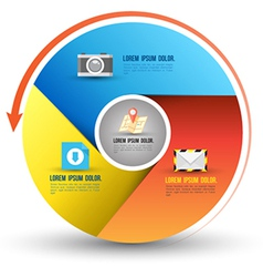 Circle three step with icons vector