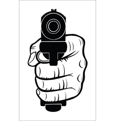 Hand pointing with the gun at you vector