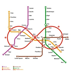 Fictional metro map in shape of infinity vector