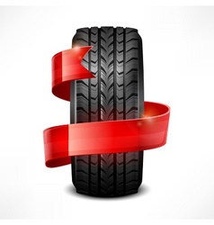 Rubber tire  ribbon vector