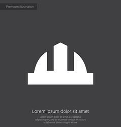 Construction helmet premium icon white on dark bac vector
