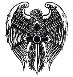 Eagle with sword stamp vector