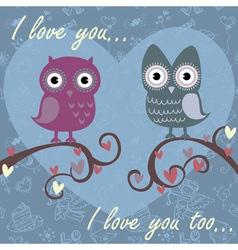 Owls darkblue vector