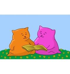 Cartoon animal read the book vector