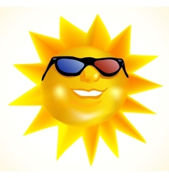 Funky fashionable sun wearing 3d spectacles vector