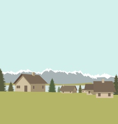 Mountain village spring vector