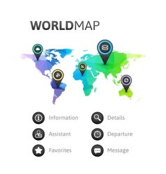 World map infographic of rainbow color vector
