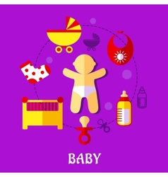 Colorful flat baby design vector
