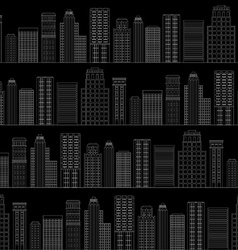 Seamless pattern of line skyscrapers black and vector