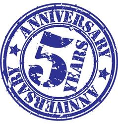 Grunge 5 years anniversary rubber stamp vector