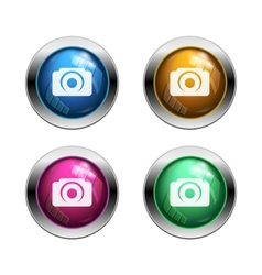 White camera icon buttons vector