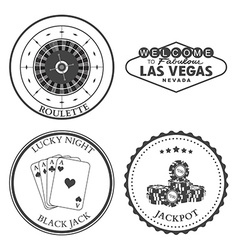 Casino roulette design elements and badges set vector