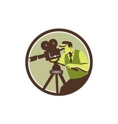 Cameraman director vintage camera retro vector
