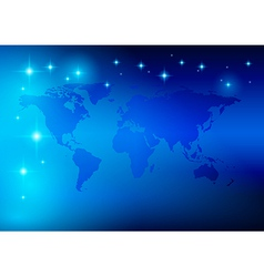 Bright blue background - world map with stars vector