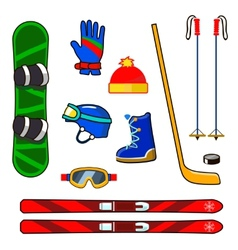 Winter sports equipment icons set vector