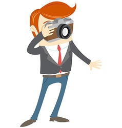 Hipster funny man with camera flat style vector