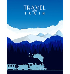 Travel with train background vector