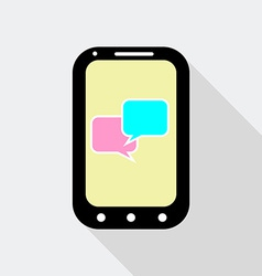 Mobile phone with speak bubbles icon flat style vector