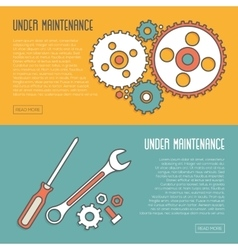 Under maintenance website page message banners vector