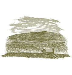 Woodcut farm barn and field vector