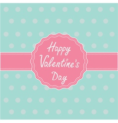 Pink label and ribbon happy valentines day vector