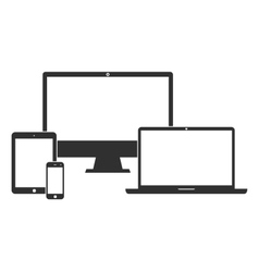 Electronic devices with white blank screens vector