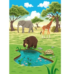 Animals in the nature vector
