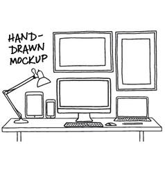 Hand-drawn studio mockup with computer vector