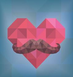 Abstract hipster moustache on heart background vector