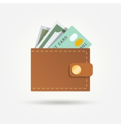 Wallet with money isolated vector