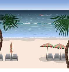 Landscape of a beach with white sand sea vector