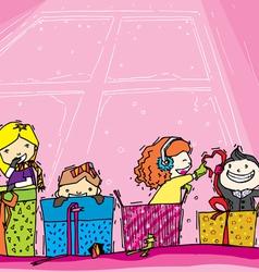 Children play in gift vector