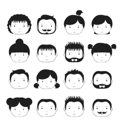 Set of monochrome silhouette office people icons vector