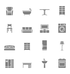 Silhouette home furniture icons set vector