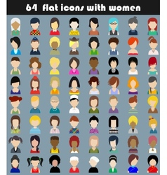 Set of flat icons with women vector