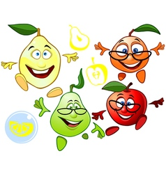 Funny cartoon characters fruit vector