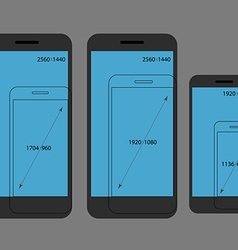 Different modern smartphone resolutions comparison vector