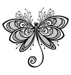 Ornate dragonfly design vector