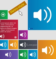 Speaker volume sound icon sign metro style buttons vector